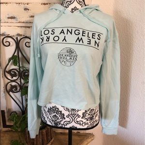 Mighty fine lt turquoise crop hoodie